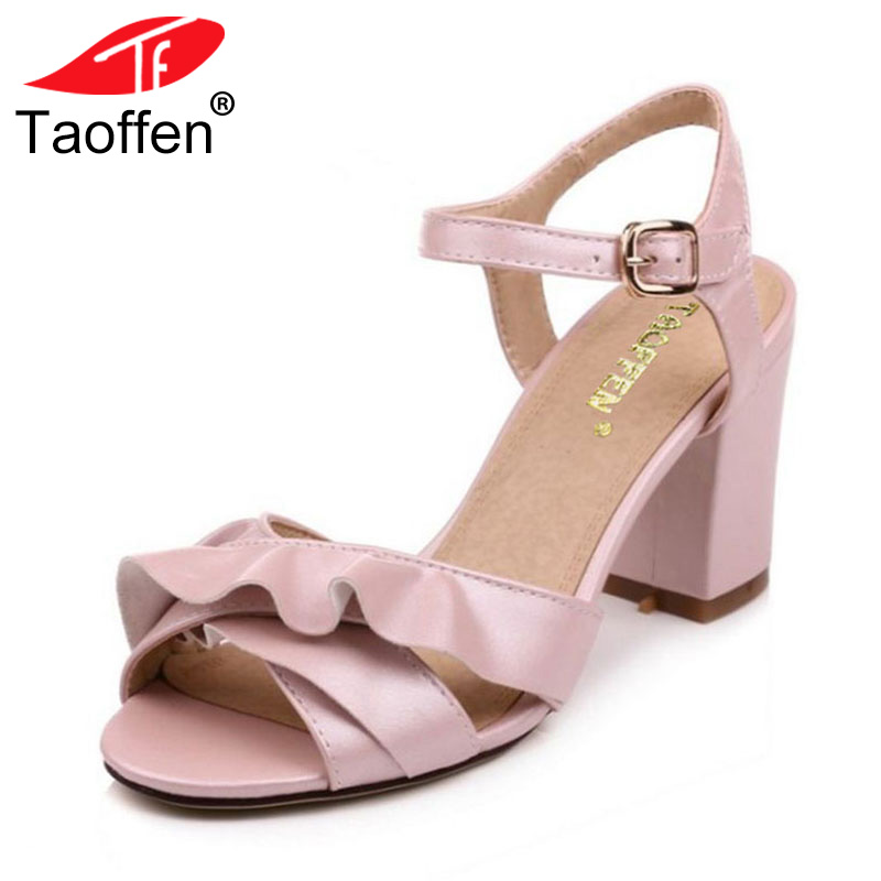 TAOFFEN Size 33-43 Fashion Women's High Heel Sandals Ruffle Ankle Strap Thick Heels Sandal Summer Party Shoes Women Footwears taoffen size 32 48 sexy women bowtie round toe high heel shoes women ankle strap thick heels pumps party dress women footwears