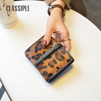 Fashion Short Women Wallet Female Genuine Leather Leopard Print Girls Handbag Money Coin Purses Holder Lady Cute Mini Wallets