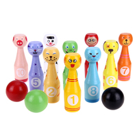 A Set Mini Cartoon Wooden Bowling Ball Game Cute Animal Shape For Kids Children Toys Kids
