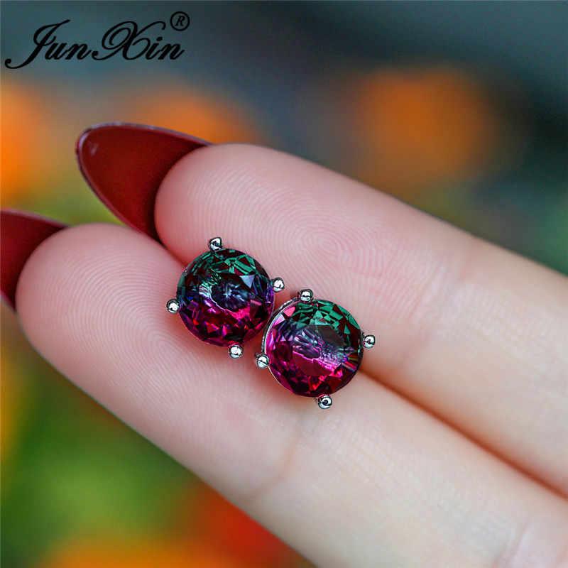 Mystic Fire Crystal Stone okrągły wkręt kolczyki dla kobiet 925 srebrny kolor tęczowy niebieski czerwony zielony cyrkon podwójne kolczyki ślubne
