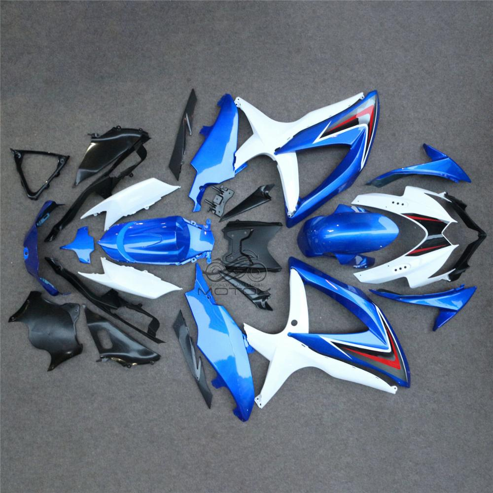 for <font><b>Suzuki</b></font> GSXR600 2008 - 2010 K8 Body <font><b>Kits</b></font> GSX-R600 08 10 White Blue <font><b>Fairings</b></font> <font><b>GSXR</b></font> <font><b>600</b></font> 09 10 <font><b>Fairing</b></font> <font><b>Kits</b></font> Unpainted image