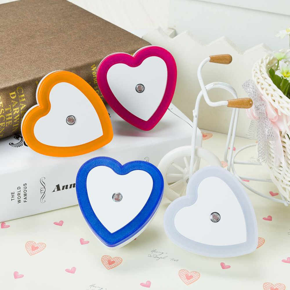 Mini Light Sensor Control LED Night Light Romantic Heart Shape Corridor Stairs Wall Lamp Children Baby Room Bedroom Night Lamp