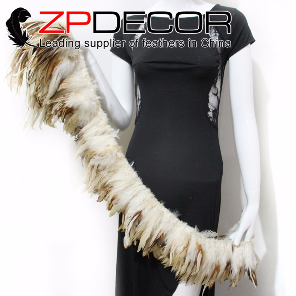 ZPDECOR 6-8inch 800pcs 85-90cm Handwork High Quality Natural Beige Rooster Coque Tail Strung Feathers For Custumes Decoration