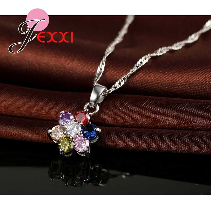 Trendy Mädchen Anhänger Set Farbige Kristall 925 Sterling Silber Anhänger Halskette Ohrringe Frauen Blumen Schmuck Set
