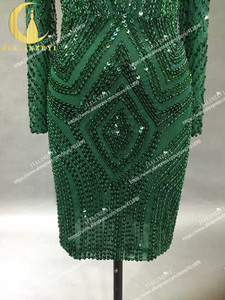 Image 5 - תמונות אמיתיות סקסי ארוך שרוולים עמוק ירוק חרוזים שיפון הגעה חדשה הברך אורך חוף מכירה לוהטת מסיבת שמלות נשף 2020