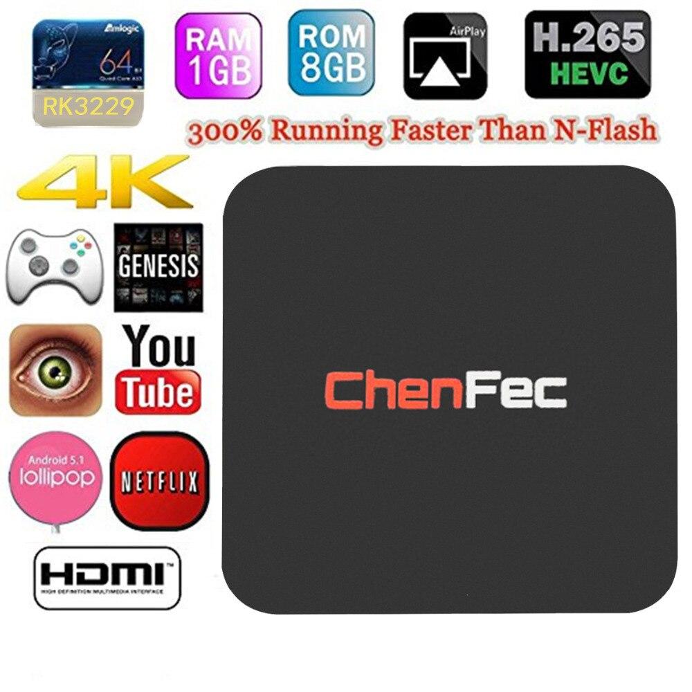 CHENFEC TV Box 4K Android 1G/8G RK3229 Quad-core Mini PC 16.1 Miracast 4K2K H.26