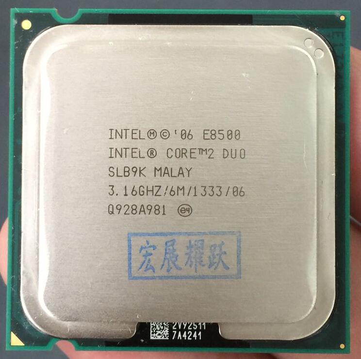 Processeur Intel Core 2 Duo E8500 (Cache 6 M, 3.16 GHz, 1333 MHz FSB) unité de traitement centrale Intel SLB9K EO LGA775