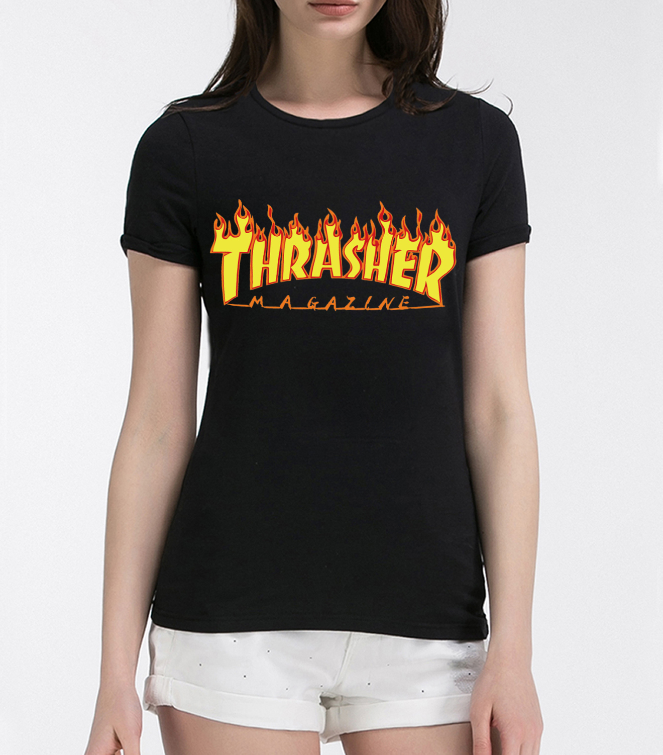 Fire text printed funny trasher t shirts for women 2016 for On fire brand t shirts