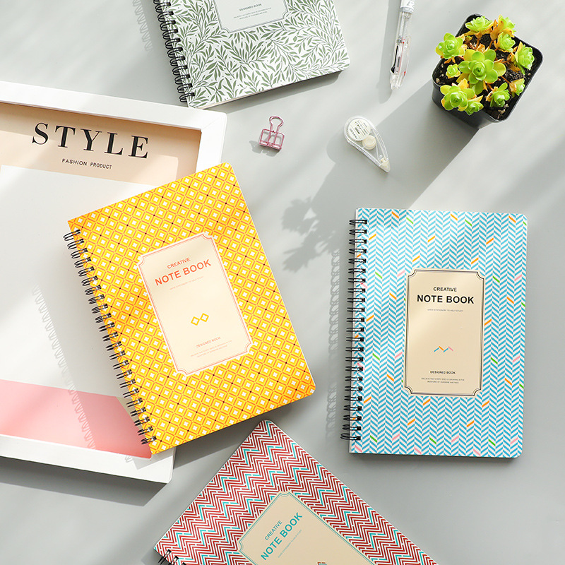 4Pcs A5 Cute Coil/Spiral Notebooks Notebook Paper Journals Lined Paper Students Supplies Stationery Office School Supplies a5 b5 spiral cute notebook new school stationery horizontal page daily memos top quality paper school supplies composition book