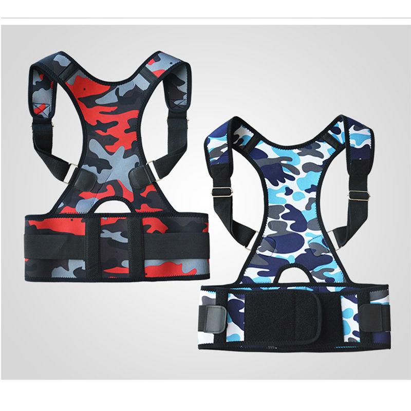 Women Men Corset Back Posture Corrector Belt Back Brace Back Support Belt Straight Back Corset Braces Camouflage Red Blue B002