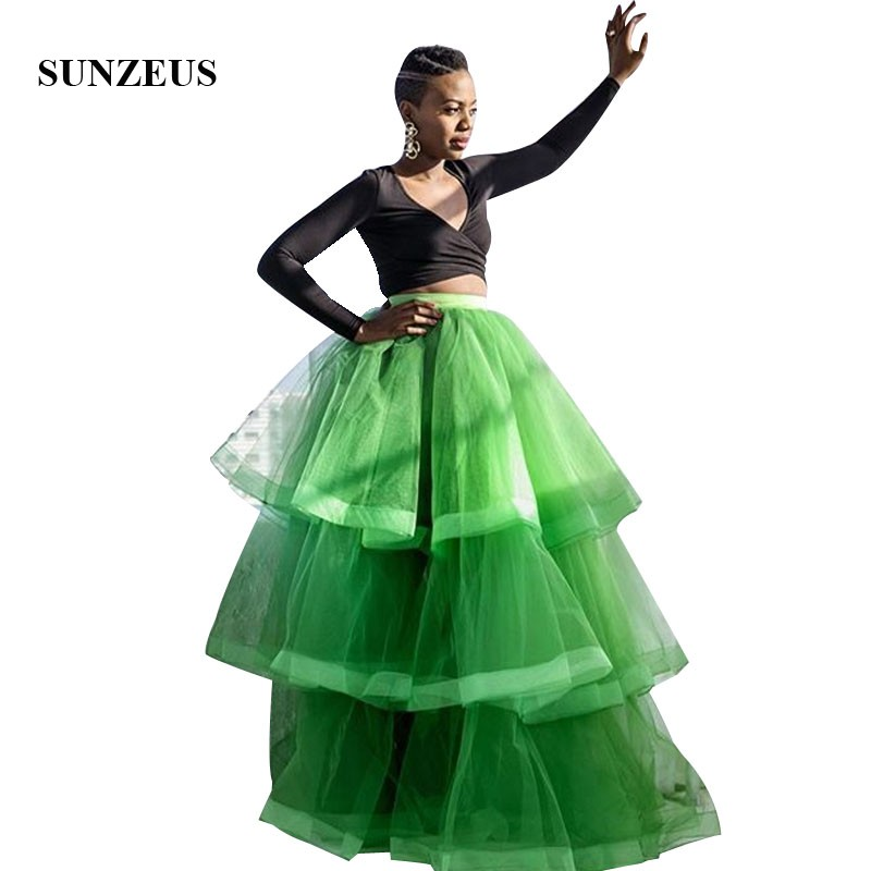Two Piece   Prom     Dress   Long Sleeves Back Top Long Green Tulle Party Gowns With Tiered Skirt Women Dance   Dress