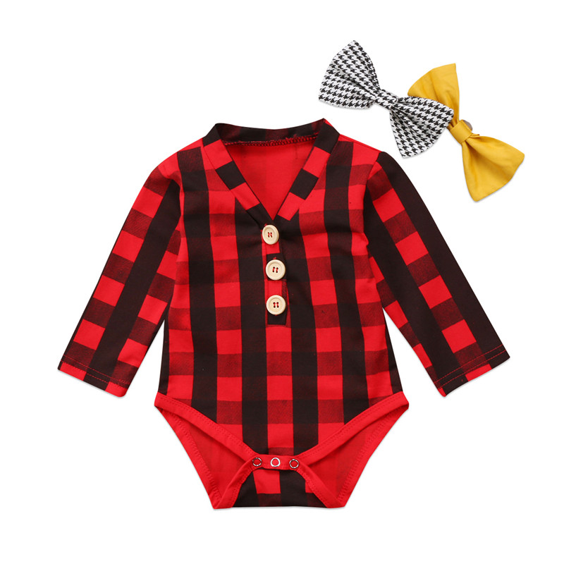 New Style Newborn Baby Boys Girls Clothes Plaid Bow Long Sleeve Romper Top Outfits Baby Clothing