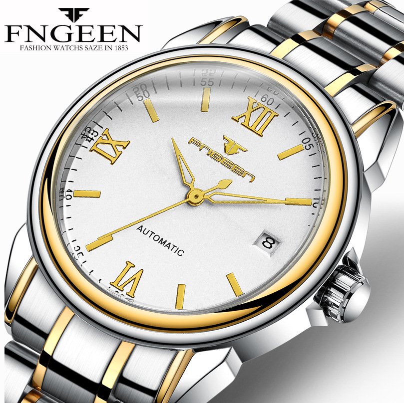 FNGEEN Men Automatic Watch With Date Calendar Roma Numbers Luminous Waterproof Mechanical Watches Male Clock relogio automatico unique smooth case pocket watch mechanical automatic watches with pendant chain necklace men women gift relogio de bolso