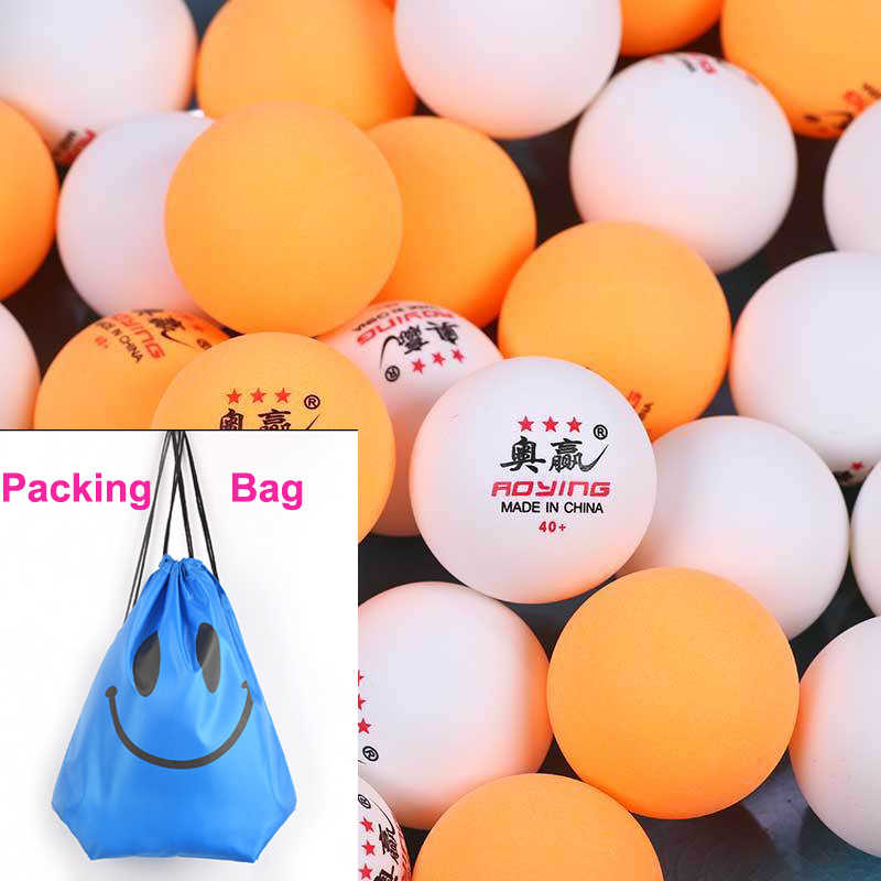 100pcs/Pack 3 Stars Professional Table Tennis Ball 40+ New Material Trainning Ping Pong Balls 40mm 2.8g White Orange ABS Plastic