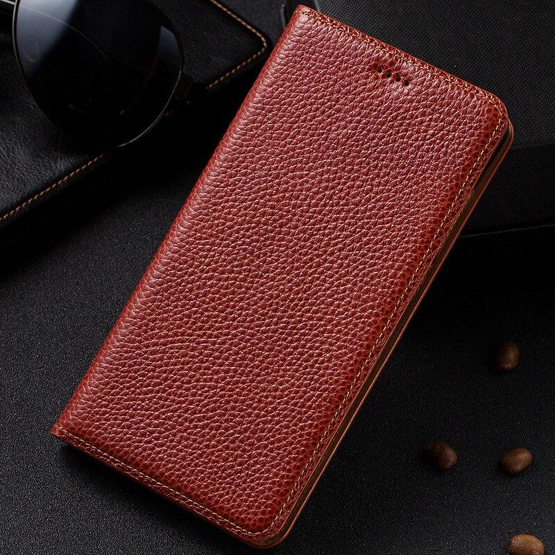 """bilder für Vintage Litschi-korn-echtes Leder Fall Für ZTE AXON 7 A2017 5,5 """"Luxury Phone Flip Stehen Rindsleder Abdeckung"""