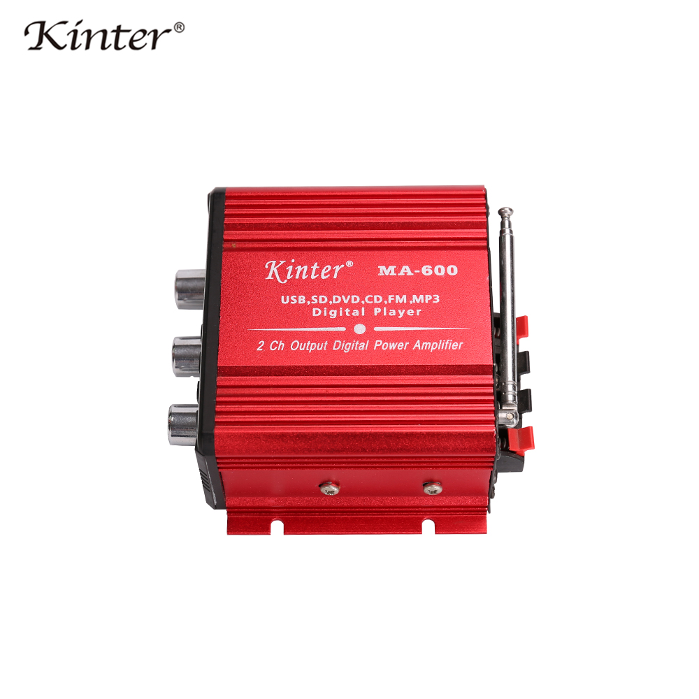 Kinter MA-600 hifi amplifier audio with radio 2.0CH DC 12V 25W SD USB AUX input play stereo sound control volume bass treble