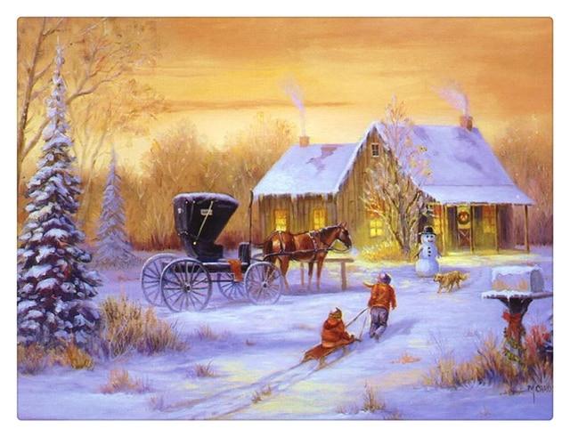 5 led verlichting gratis verzending kerst muur canvas print streched kerst schilderij winter view