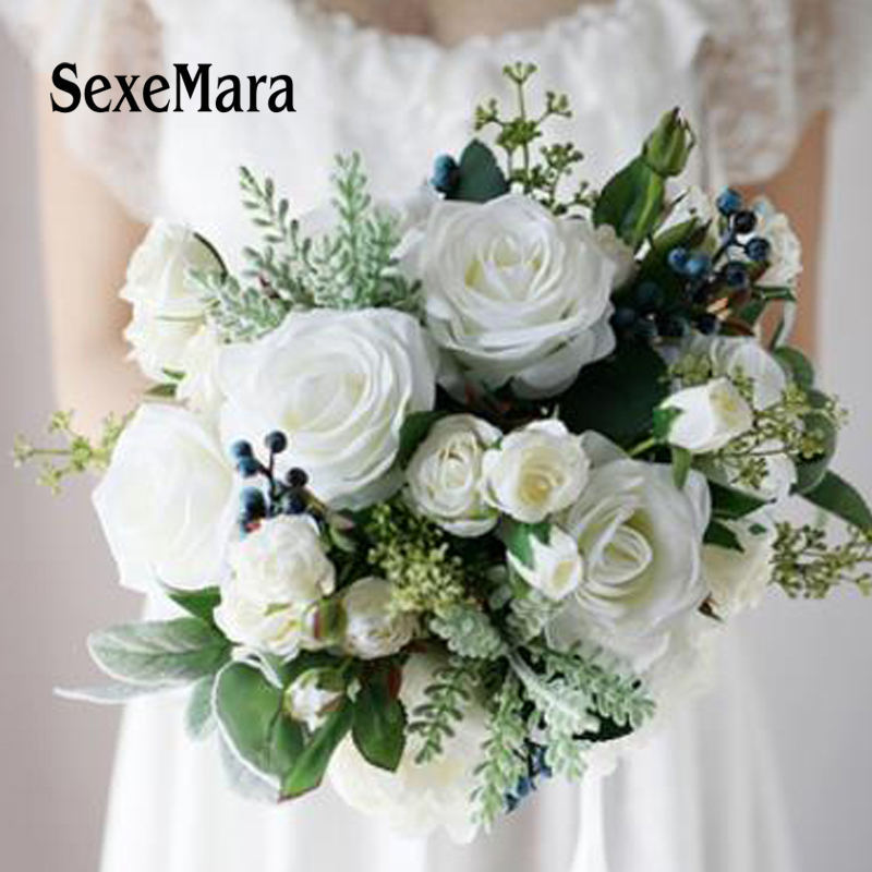 White Wedding Flower Arrangements: SexeMara Wedding Bouquets Artificial White Rose Bouquet