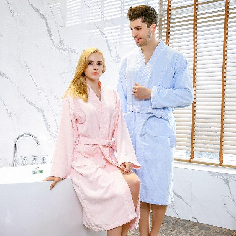 Femmes et hommes automne et hiver couple coton coupe velours cinq étoiles hôtel peignoir kimono épaissi chemise de nuit peignoirs peignoir