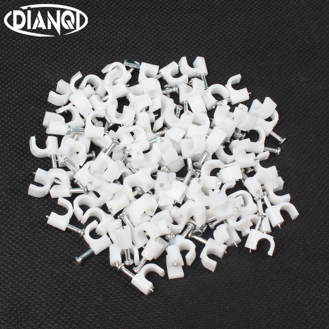 5MM Circle Path Circle cable clips cable nail wire clips 100PCS/bag ...