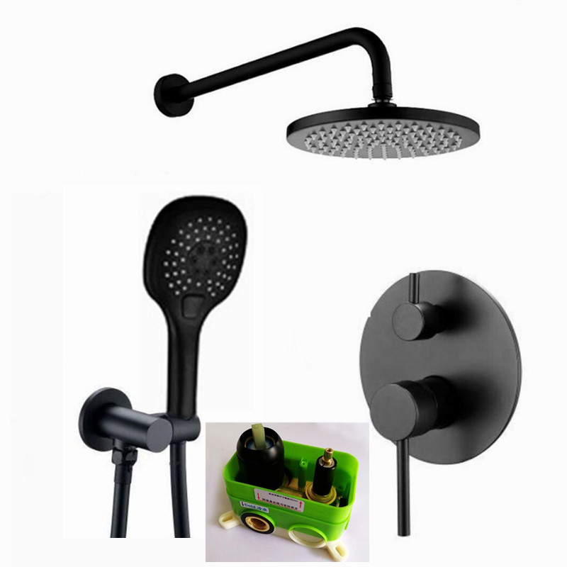 Brass Black Bath Shower Faucets 8 16 Rain Shower Head Bathroom Shower Set Diverter Mixer Valve