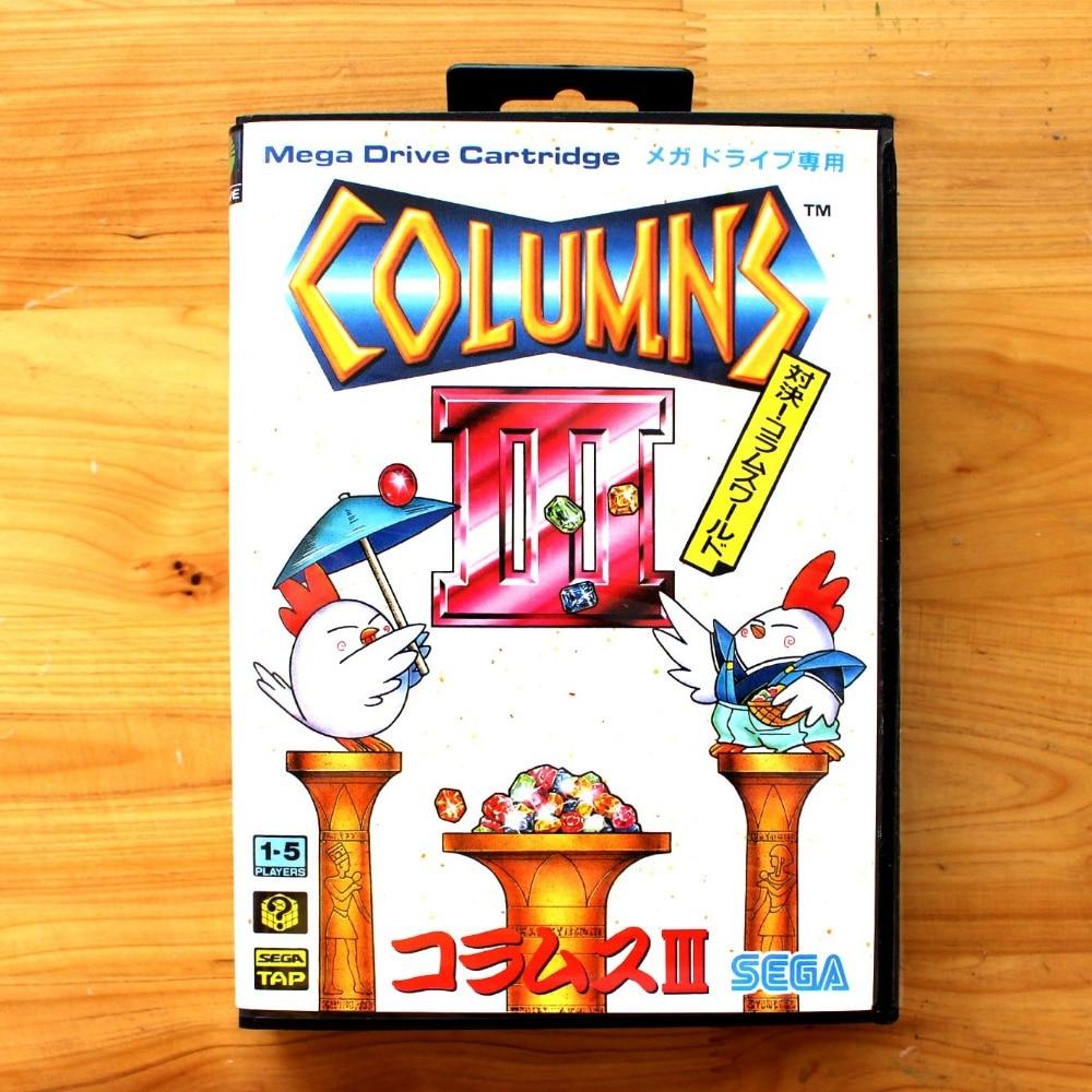 Columns 3 16 Bit SEGA MD Game Card With Retail Box For Sega Mega Drive For Genesis