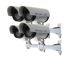 MOOL Set of 4 Cameras Dummy Camera Fake Dummy CCTV Security Surveillance Camera Outdoor with red LED   Silver