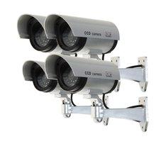 MOOL Set von 4 Kameras Dummy Kamera Gefälschte Dummy CCTV Überwachungs Kamera Im Freien mit rote LED Silber