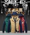 2016 80% Poliéster Sólido Peinada Hombres Encapuchados Jaqueta masculina Napapijri Algodón Acolchado Coreano de gama Alta de Los Hombres Menswear Nueva escudo