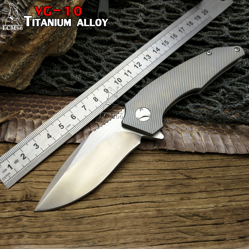 LCM66 TC4 Titanium alloy Folding Knives VG10 Blade Flipper Tactical Knife Outdoor LionSteel Camping Survival HuntKnife tool stylish skull shape leaves birds pattern square shape flax pillowcase without pillow inner