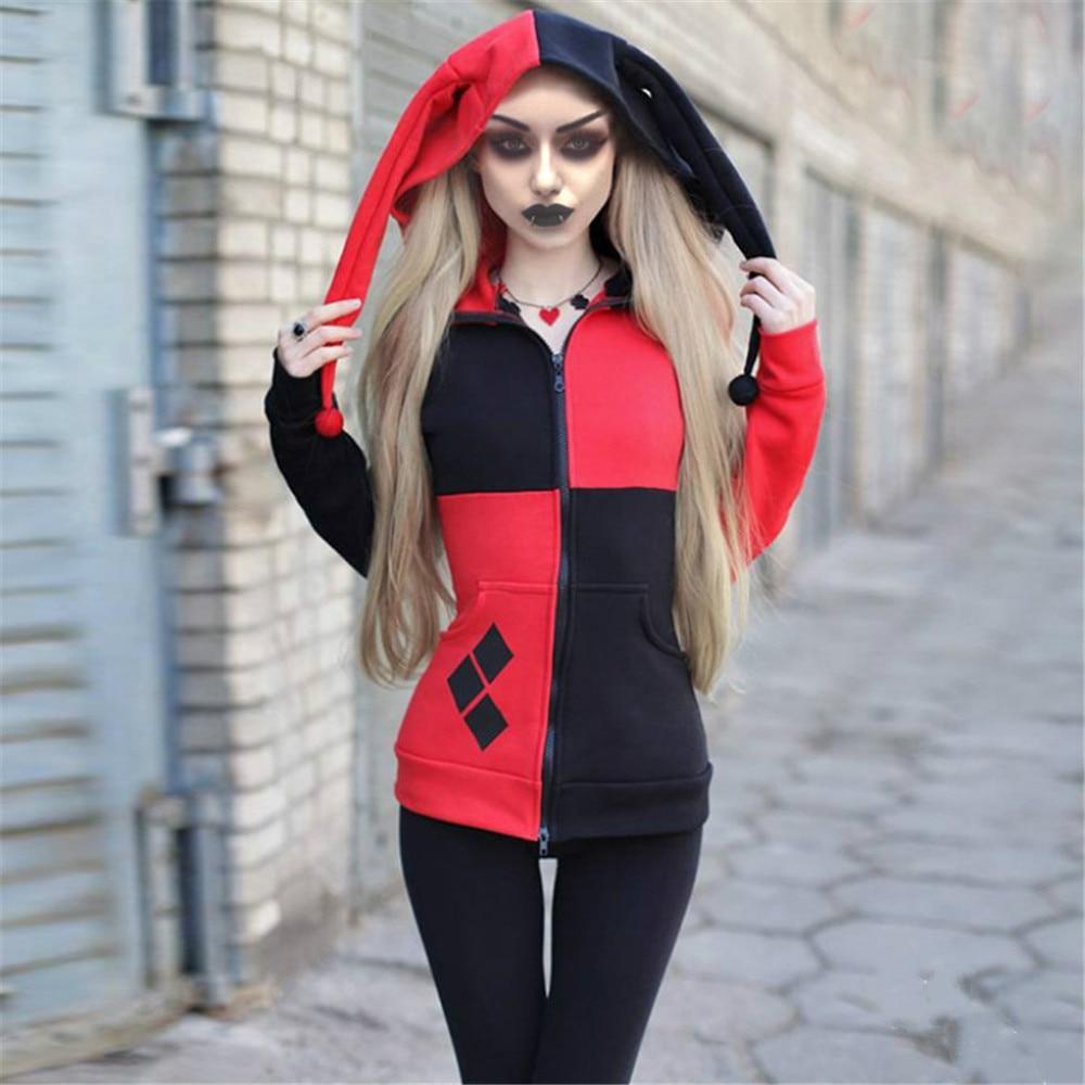 Cosplay Women Hooded Color Stitching Zipper Jacket Sweatshirt Coat Clown Female Doll Droll Braids Hat Halloween Carnival Costume