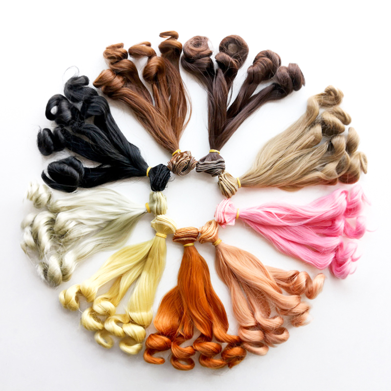 15cm x 100cmnatural color curly doll wigs hair DIY for 1//3 1//4 1//6  BE