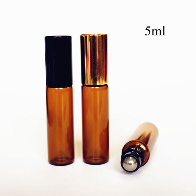 7d06488690f4 US $2.1 25% OFF|5pcs/pack 5ml Amber Glass Roll on Bottle Thin Glass  Essential Oil Bottle wih Metal Roller Ball Aromatherapy Glass Vials-in  Refillable ...