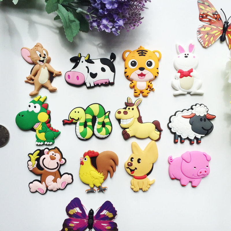 1pcs Cute Chinese Zodiac Cartoon animal fridge magnets whiteboard sticker Refrigerator Magnets Kids gift Home Decoration in Fridge Magnets from Home Garden