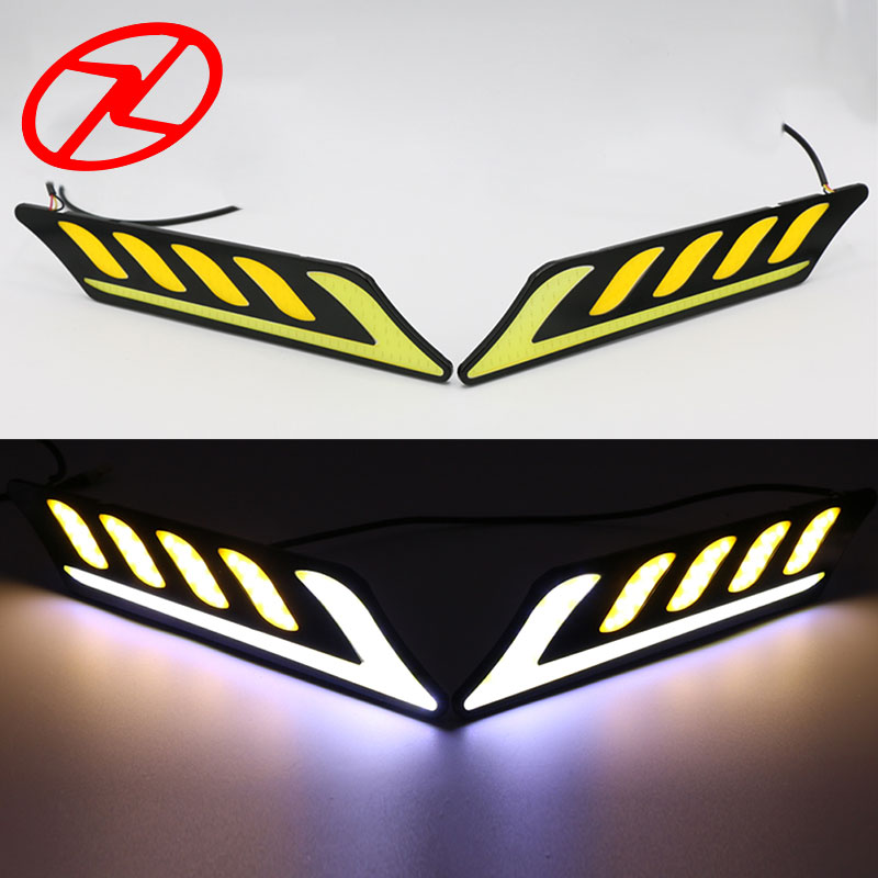 LED Daytime Running Light Waterproof COB White Color Day Light + Amber Fog Light Auto DRL Turning Signal Lights 12v flexible white daytime running light turn lights led cob day run lights drl with amber turning steering signal lamps