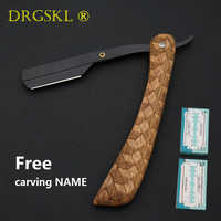 Senior wooden handle barber hair cut razor shaving razor, professional Hair knifes razors eyebrow shaver Replaceable blade