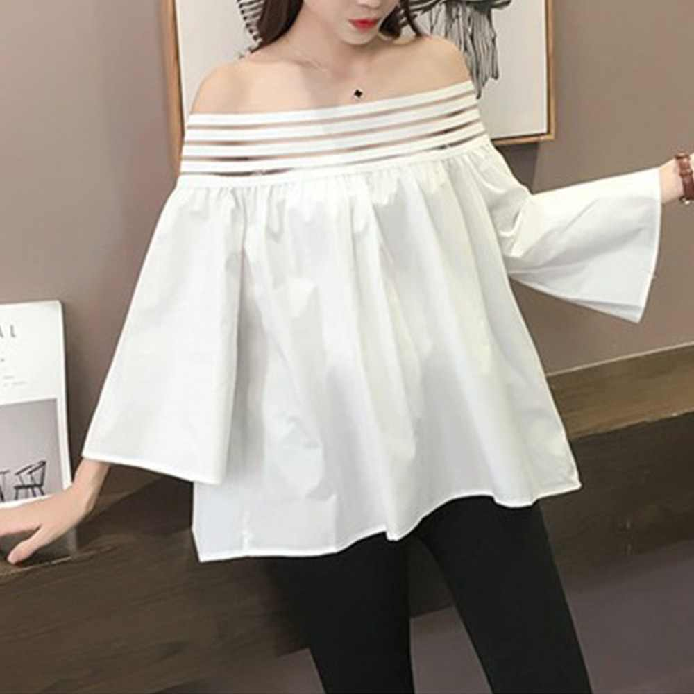 Womens Spring Summer Sexy Off The Shoulder T-Shirt 5 Rows Anti-Slip Rubber Band Solid Color Pullover Tops 3/4 Flare Sleeves Over