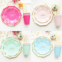 Hot Gold Foil Happy 1st Birthday Tableware Set Plate Cup Straw Pink Blue Rose Red Mint