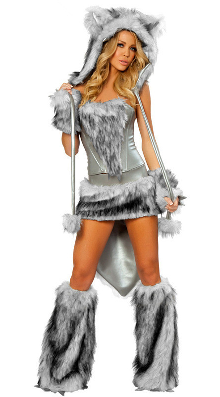 Halloween Animal Faux Fur Wolf Costume Adult Women Sexy Wolf Corset Skirt With Tail Set Outfit