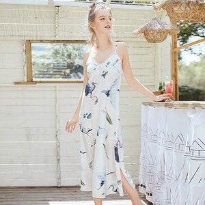 Image 4 - Women Robe Silk Women Sleepwear Sexy Female Robe Kimono Satin Flower Printing Bath Robe 2019 Summer Dressing Gown Home Wear