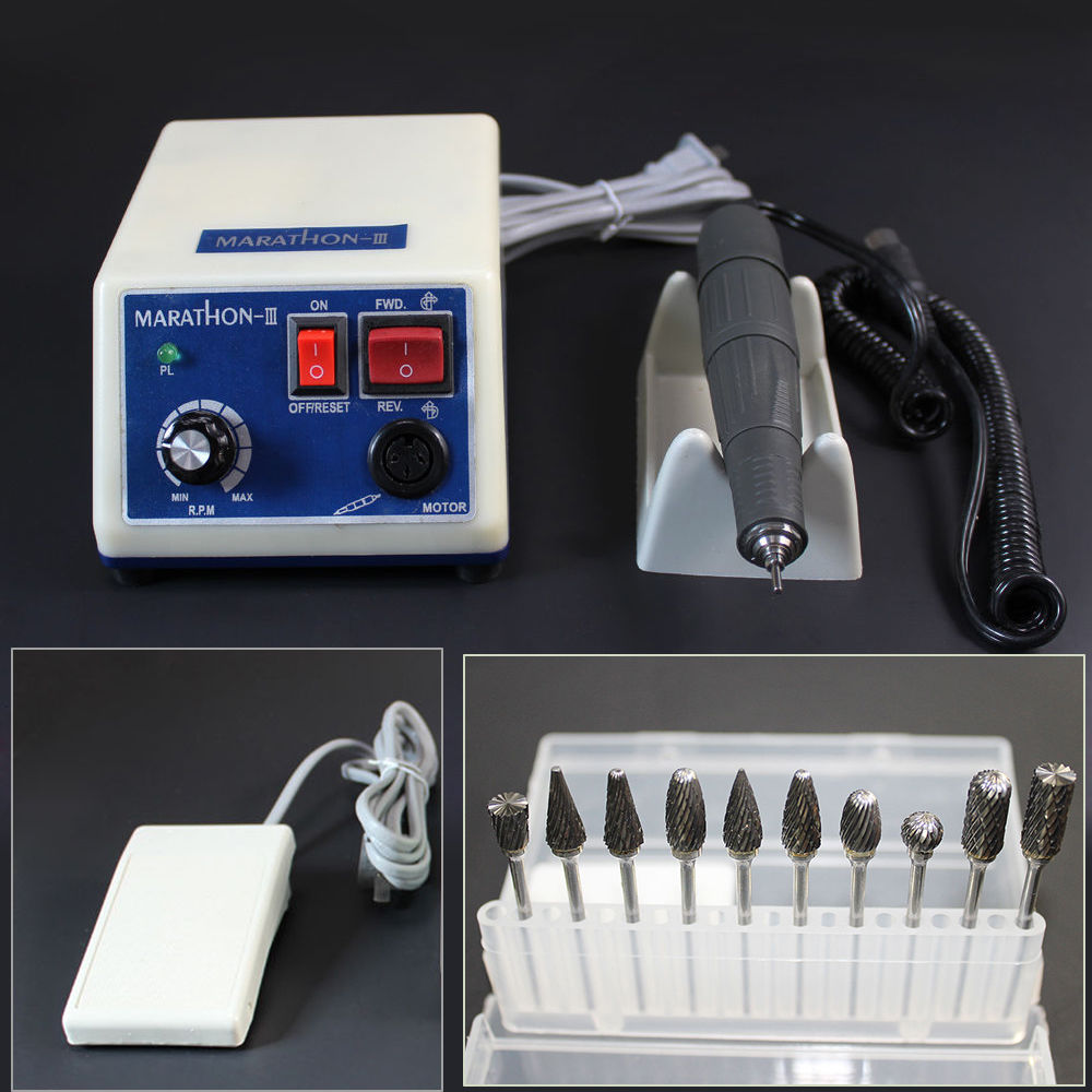 35K RPM Lab Dental Polishing Machine Marathon N3 Micromotor Polisher + Handpiece 10 Burs micro ir uv