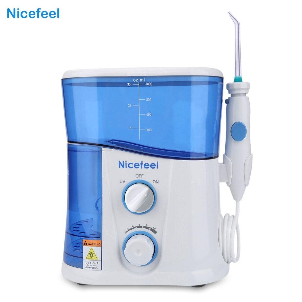 Nicefeel 1000 ml agua Flosser Dental irrigador Oral Spa Dental Unidad Profesional Floss Oral irrigador 7 piezas Punta de chorro agua tanque