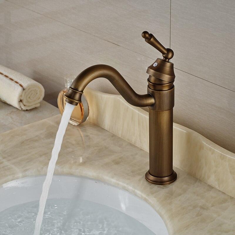ФОТО Bthroom Single Handle Hot Cold Basin Sink Faucet Deck Mount Vanity Sink Mixer Taps Antique Brass