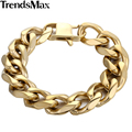 Trendsmax 18.5mm Wide Mens Chain Gold Plated Cut Curb Link 316L Stainless Steel Bracelet Length 7-11inch HBM63