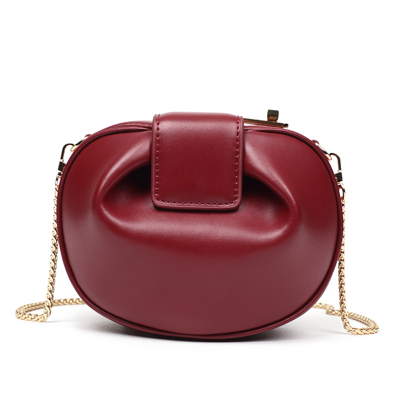 Autumn Circular Messenger Bag HOBOS Retro Real Split Leather Women\'S Bag Small Wonton Yuntong Lock Chain Mini Handbag