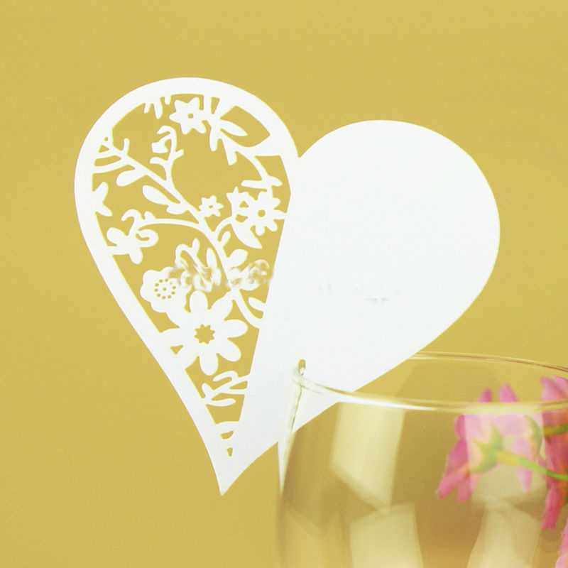 10pcs 6 Colors Heart-shaped Wine Glass Cup Paper Cards For Wedding Party/Table Decoration/Home Decor Name Place Cards