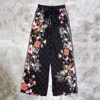 wide leg pants women fashion high waist pants 2018 floral print pants