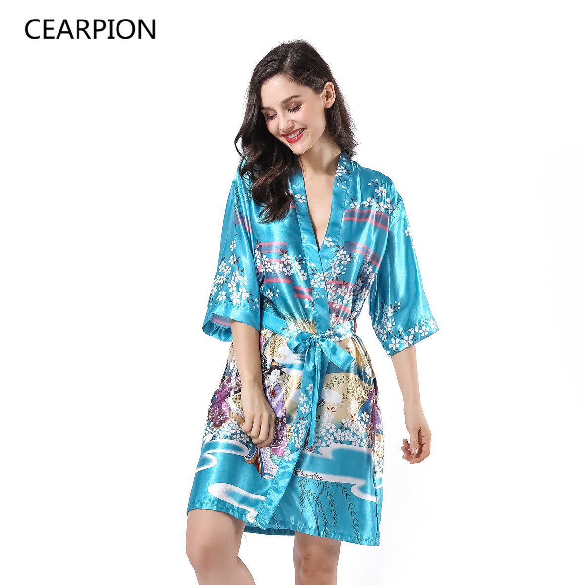 CEARTION Womens Kimono Bath Robe Gown Sexy Sleepwear Rayon Nightwear Casual Soft Home Clothes Print Floral Negligee Pajamas