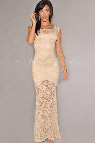 new arrive plus size bandage women lace white dress Cream Lace Nude ...