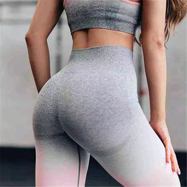 Oyoo Ombre Seamless leggings blue booty push up yoga pants high rise grey pink workout jogging pants for women training tights
